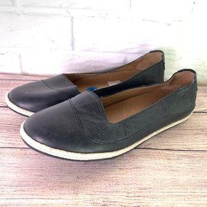 Olukai Flats Size 10 Black Leather Shoes Slip On